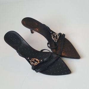 Gucci black GG logo strappy kitten heel sandals